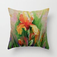 iris Throw Pillows featuring Iris by OLHADARCHUK