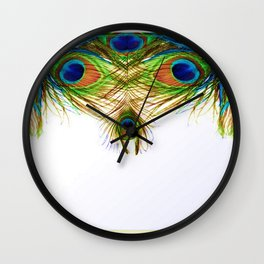 GORGEOUS BLUE-GREEN PEACOCK FEATHERS ART Wall Clock