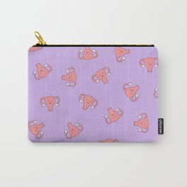 Crazy Happy Uterus in Purple, Large Carry-All Pouch