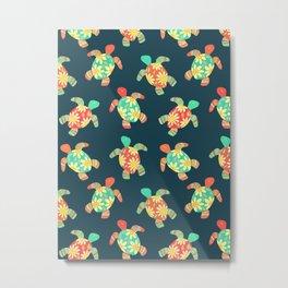 Cute Flower Child Hippy Turtles Metal Print