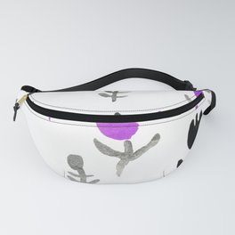 Wildflower Pattern Handpainted Black and Orchid Purple Fanny Pack