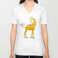 giraffe V-neck T-shirts featuring Giraffe by gunberk