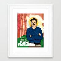 ron swanson Framed Art Prints featuring Ron Swanson by Sayada Ramdial