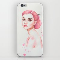 hepburn iPhone & iPod Skins featuring Audrey Hepburn by Black Fury