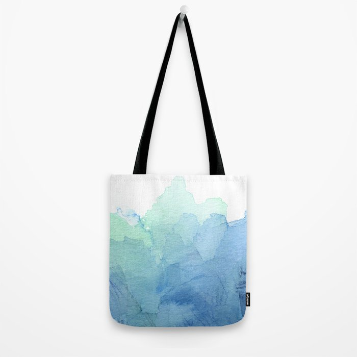 Abstract Watercolor Texture Blue Green Sea Sky Colors Tote Bag