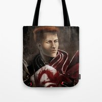 "dragon age inquisition Tote Bags featuring Krem - Dragon Age/Mass Effect crossover by Barbara ""Yuhime"" Wyrowińska"
