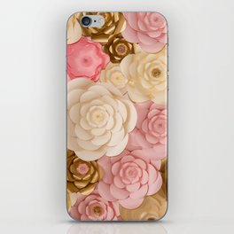 Paper Flowers x Gold Pink Cream iPhone Skin