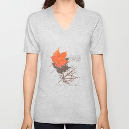 Fall, Maple Leaf, Deconstructed Unisex V-Neck