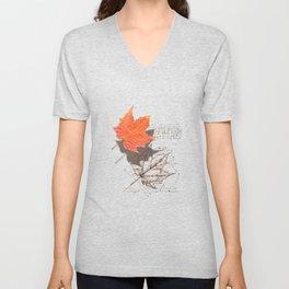 Fall, Maple Leaf, Deconstructed Unisex V-Neck