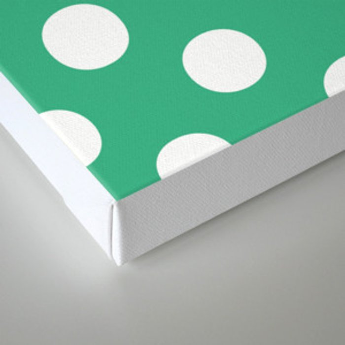 Polka Dots (White/Mint) Canvas Print