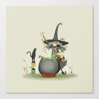 vegetarian Canvas Prints featuring Vegetarian witch by Romain Toffoli