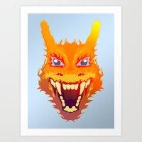 charizard Art Prints featuring Flaming Dragon by Head Glitch