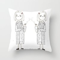royal tenenbaums Throw Pillows featuring the royal tenenbaums - margot by sharon