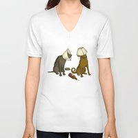 drunk V-neck T-shirts featuring Drunk Dog by Jonah Makes Artstuff