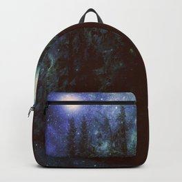 Galaxy Forest Deep Dark Blue & Green Backpack