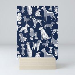 Geometric sweet wet noses // navy blue background white dogs Mini Art Print