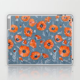 Red poppies in grey Laptop & iPad Skin