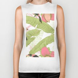 pattern with banana palms With birds toucans Biker Tank