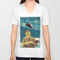 chicken V-neck T-shirts featuring Chicken by Julia Lillard Art
