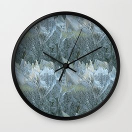 Iced Leaves over the Hills Wall Clock