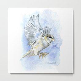 Sparrow Watercolor Metal Print