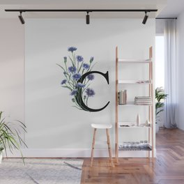 Letter 'C' Cornflower Typography Wall Mural