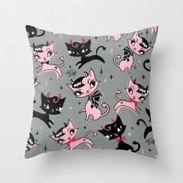 Devil Kitties Grey Throw Pillow