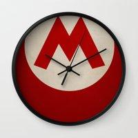 mario Wall Clocks featuring Mario by Jynxit