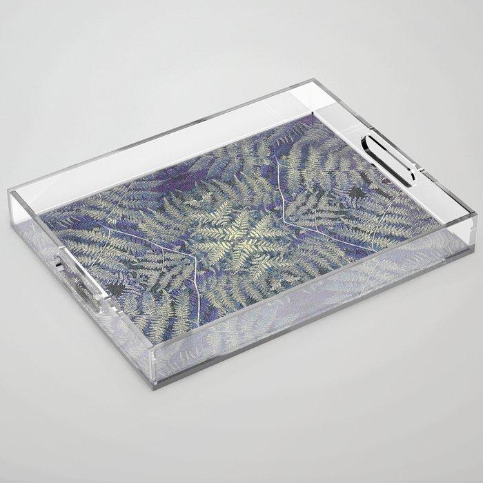 SYMMETRICAL PASTEL PURPLE BRACKEN FERN MANDALA Acrylic Tray