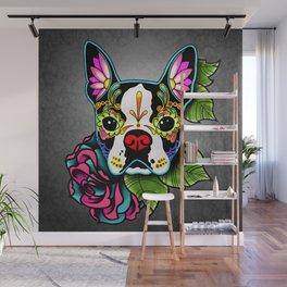 Boston Terrier in Black - Day of the Dead Sugar Skull Dog Wall Mural