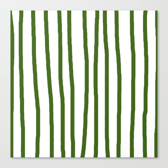 Simply Drawn Vertical Stripes in Jungle Green Canvas Print
