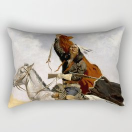 "Frederic Remington Western Art ""The Blanket Signal"" Rectangular Pillow"
