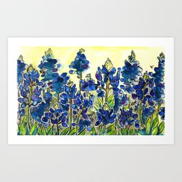 Texas Bluebonnets Watercolor Art Print