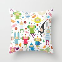 katamari Throw Pillows featuring KATAMARI DAMACY by Erin Lowe