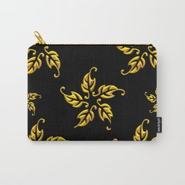 Golden 3-D Look Leaf Rosettes Carry-All Pouch