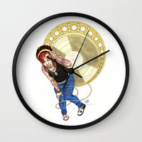 mucha Wall Clocks featuring Mucha Music Fan by Adriana Blake