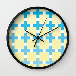 A mosaic in blue and beige color Wall Clock