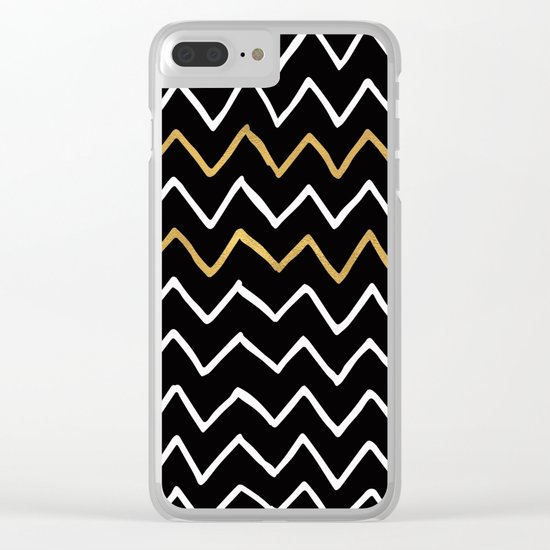 Writing Exercise-Simple Zig Zag Pattern- White Gold on Black -Mix & Match with Simplicity of life Clear iPhone Case