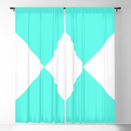 Four Triangles (White & Turquoise Pattern) Blackout Curtain