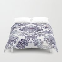 damask Duvet Covers featuring Blueberry Damask by Dena Brender Photography