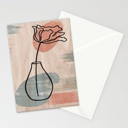 Flower And Vase Print, Wildflower Print, Line Art Print, Abstract Wall Art, Abstract Print Stationery Cards