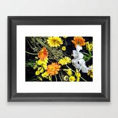 Fresh blooms on black Framed Art Print