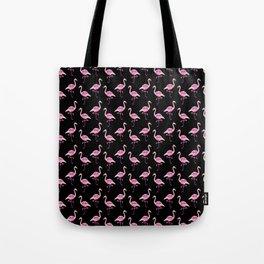 Pink Flamingos Pattern & Black Tote Bag