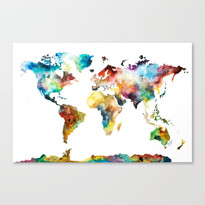 Colorful Watercolor World Map Canvas Print by audreydeford   Society6