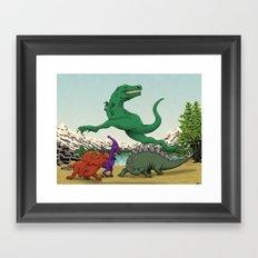 Dinosaurs Dancing Framed Art Print