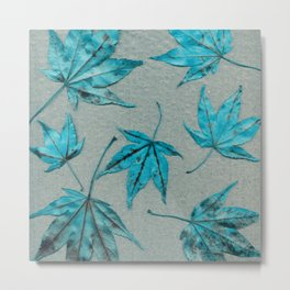 Japanese maple leaves - turquoise on silver gray paper Metal Print