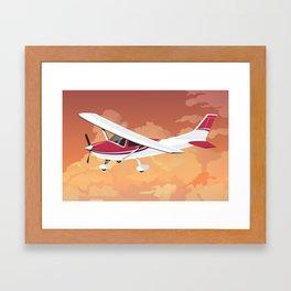 Cessna Flying Through Clouds Framed Art Print