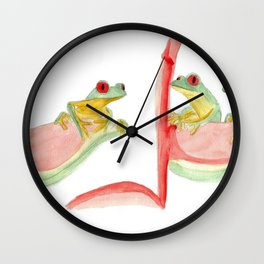 three little frogs Wall Clock