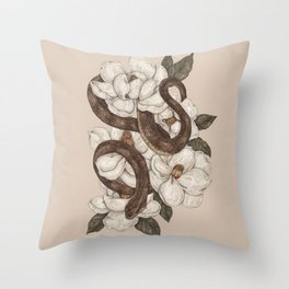 Snake and Magnolias Throw Pillow
