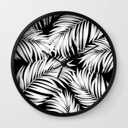 Palm Tree Fronds White on Black Hawaii Tropical Décor Wall Clock